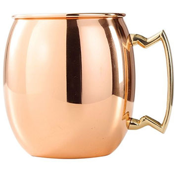 Moscow Mule Copper Barrel Mug 16 oz. - Pure Smooth Solid Copper Barrel Mug, Handcrafted with solid Brass Handle. Unlined with tarnish resilient outer finish for long lasting and luster.