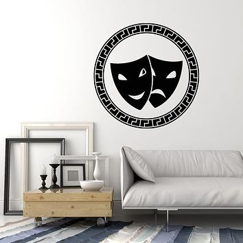 Vinyl Wall Decal Masks Masquerade Theatre Laughing And Crying Stickers Mural (g1689)