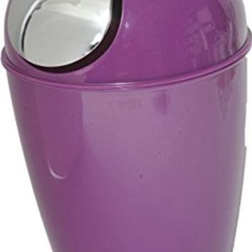Bathroom Mini Waste Basket Countertop Trash Can Solid Shiny Color with Chrome Lid (Purple)