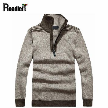 Male Autumn Winter Brand Sweater Men Thicken Warm Turtleneck Striped Cotton Wool Sweaters Mens Casual Pullover Jumper Knitted