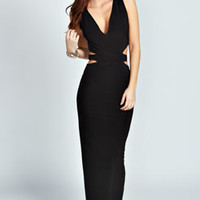 Hatty Slinky Cut Out Sides Maxi Dress