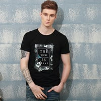 Men's Fashion Print Round-neck Men Short Sleeve Summer Cotton Tops T-shirts [6544329859]