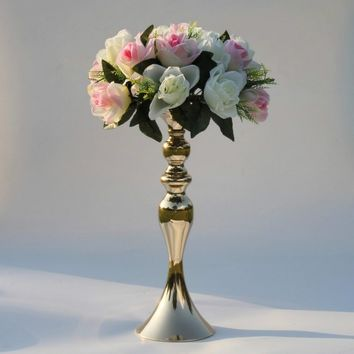 "3 Colors 38cm/15"" Height Metal Candle Holder Wedding Centerpiece Event Romantic Flower Road Lead Flower Rack"