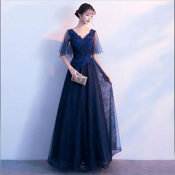 Mother Of The Bride Dresses A-line Half Sleeves Lace Long Elegant Beads Flower Customer Made
