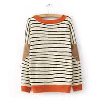 Winter Round Neck Bat Sleeves Elbow Patch Striped Sweater-Ships FREE!