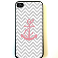 Grey Chevron Pink Anchor iPhone 5 Case Fits iPhone 5