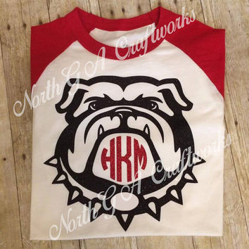 Ladies Shirt Bulldog UGA University of Georgia Game Day Raglan T-shirt Personalized with Monogram Womens