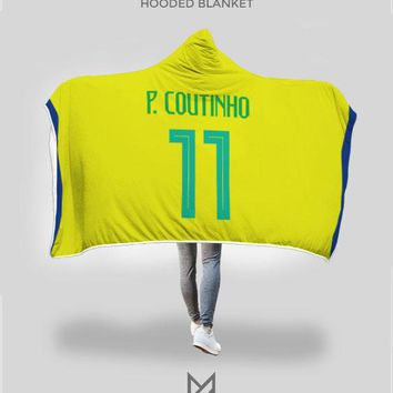 Philippe Coutinho Brazil Home Jersey 2018 Hooded Blanket - FIFA World Cup