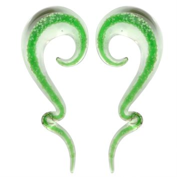 BodyJ4You Glass Spiral Taper Hanger Ear Gauge Green Glow in the Dark 8G-16mm Piercing Jewelry