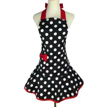 Sweetheart Retro Kitchen Apron Woman Cotton Polka Dot Cooking Salon Avental de Cozinha Divertido Pinafore Tablier Dress Vintage