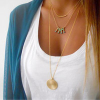 17KM Sexy Multi Layer Chain Necklace Gift Bohemia Tsaael Maxi Chocker Gold Plated  2016 Sweater Statement Necklaces for Women