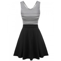 Women Sleeveless Striped Sundress Back Hollow Patchwork Casual Party Slim Mini Pleated Dress
