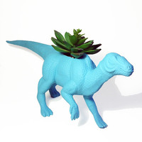 Huge Blue Recycled Dinosaur Planter