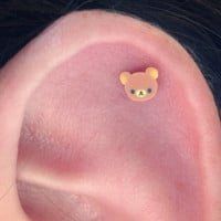 Cute Bear Earring Surgical Steel Ear Stud. Kawaii and Hypoallergenic. Perfect for Helix and Cartilage Piercings.