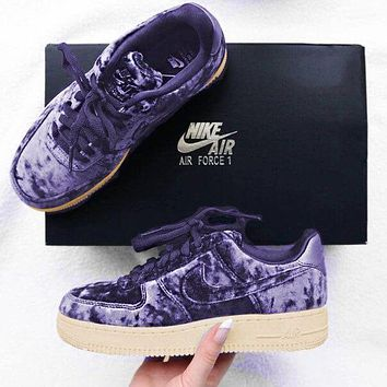 Nike Air Force 1 '07 Premium Velvet Fashion Women Casual Low Top Sports Shoes Sneakers Lavender Purple