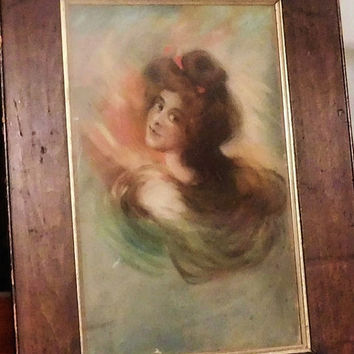 Watercolor Painting Antique Victorian Watercolor Portrait of a Lady Framed Art Circa 1900s Gibson Fisher Boileau Christy Style Large Nouveau