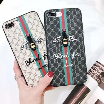 Old ikebana embroidery bee iphone8plus mobile phone case striped full pack 6s protective case