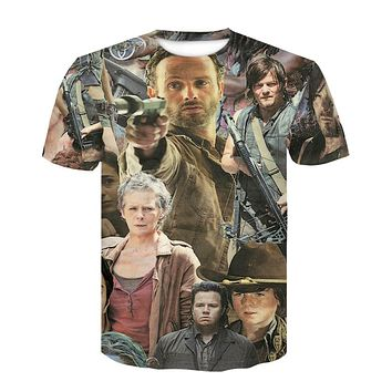 New Arrive The Walking Dead Paparazzi T-Shirt Rick Grimes Carl Daryl Michonne zombies 3d summer style tee t shirt women men