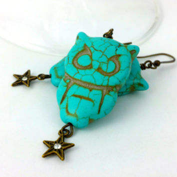 Owl Charm Earrings - Turquoise Owls - Owl Earrings - Bohemian Owls - Owl Jewelry - Blue Owls Earrings - Owl and Stars - Turquoise Earrings