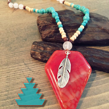 Boho hippie jewelry, Native American inspired arrow head necklace