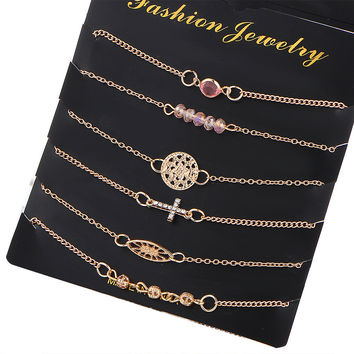 Gift Hot Sale Shiny Awesome Stylish New Arrival Great Deal Crystal 6-pcs Cross Hollow Out Alloy Bracelet [10794299015]