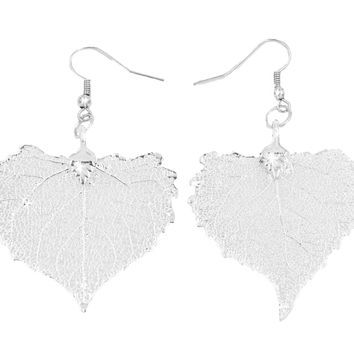 Real Leaf Hook Drop EARRINGS COTTONWOOD Silver Dipped Genuine Leaf