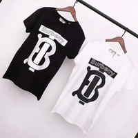 Burberry Summer Fashion New Letter Print Women Men Top T-Shirt