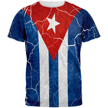 Distressed Cuban Flag All Over Mens T Shirt