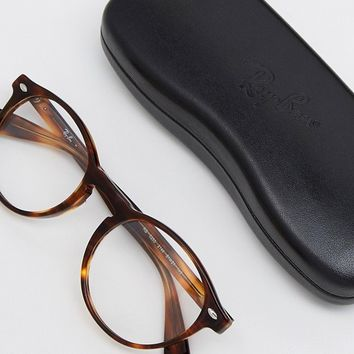 Ray-Ban Round Clear Lens Glasses In Tort 0RX5283 2144 51 at asos.com