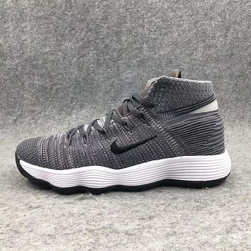 NIKE HYPERDUNK FLYKNIT Trending Men Stylish Shock Absorption Basketball Training Sports Running Shoes Sneakers Dark Grey I-AHXF