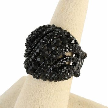 """.75"""" black crystal pave stretch cocktail ring bridal prom"""