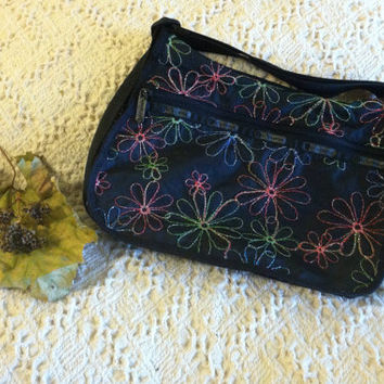 Black Sporty Shoulder Bag Le Sport Sac Vintage 1980s Casual Handbag With Multicolored Embroidered Flowers Flower Power Cosmetic Bag Purse