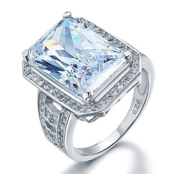 Radiant Cut Simulated Diamond Sterling Silver Ring
