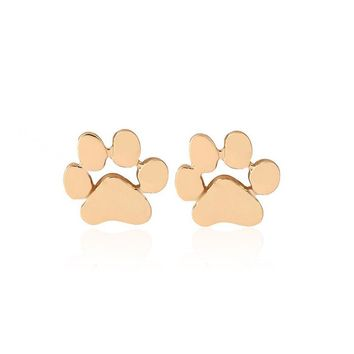 Trendy Pet Dog Claw Paw Stud Earrings Fashion Cute Animal Footprint Earrings For Women Hollow Dog's Tag Earings For Dog Lovers