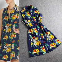 Blue Sleeveless Collar Cardigan Floral Printed A-Line Dress