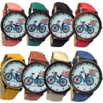 New Women's Fashion Bike Bronze Jean Fabric Band Quartz Analog Wrist Watch Cai0581