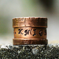 Personalized Rugged Copper NAME Ring, Fold Formed Ring, Gift for Him, Custom Copper Cuff Ring, Handstamped Jewelry