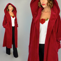 vintage 1950s gothic VELVET hooded steampunk gothic ruby red maxi OPERA COAT, one size fits most