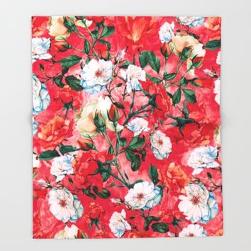 Rose Red Throw Blanket by RIZA PEKER