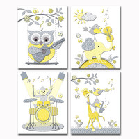 Music nursery art Neutral baby room decor boy girl wall decoration yellow grey poster elephant with violin owl playing guitar monkey drums