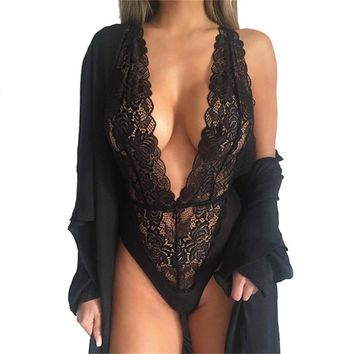 Women Sexy Plunge V Neck Full LACE Bodysuit Letoard Bustier Top Blouse Tank Top