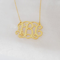 Gold Monogram Necklace For The Bride And Bridesmaids,Personalized Monogram Necklace 1.75 inch,Gold Monogram Necklace,3 Initials Necklace