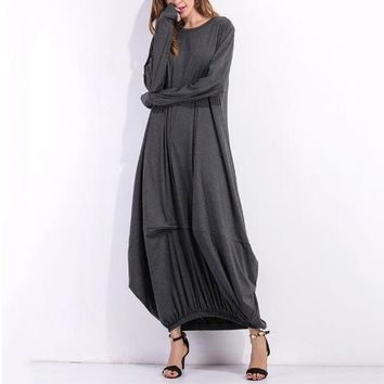 Women Long Sleeve Casual Plain Long Maxi Dress Vintage Kaftan Plus Size Full-Length