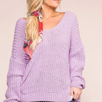 Feeling Good Lavender Oversize Knit Sweater