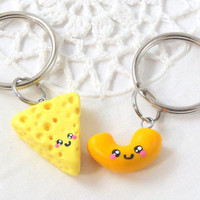 Mac and cheese best friend keychains - best friend keychains - kawaii charms - polymer clay bff charms - kawaii charms - macaroni and cheese