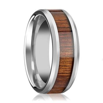 Tungsten Wood Ring - Koa Wood - Tungsten Wedding Band - Polished Finish - 4mm - 6mm - 8mm - 10mm - 12mm - Tungsten Wedding Ring