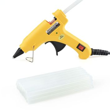 NEWACALOX 20W EU/US Plug Hot Melt Glue Gun with 20pcs 7mm Glue Stick Industrial Mini Guns Thermo Gluegun Heat Temperature Tool