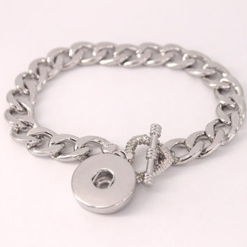 Stering silver bracelet Newest Design Chain Antique Silver Plated Vintage Bracelet Fit 18mm Snaps Button  Jewelry B257