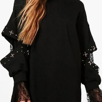Ally Embellished Lace Insert Sweater Dress | Boohoo