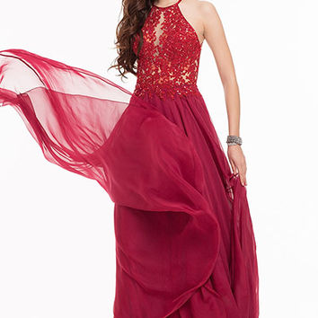 Fiona Dress: Halter Neck Wine Fit & Flare Long Prom Dress | Glam Union